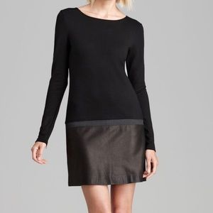 Theory Kieran leather combo black long sleevedress
